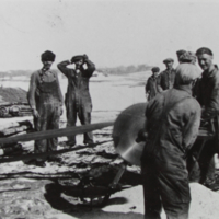 Balazs Bagu and Friends Preparing for Winter 1946