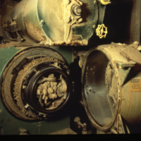 [Machinery inside of a flour mill]