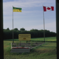 """Agricultural Research and Development - Saskatchewan Wheat Pool"" sign"