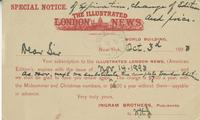 Postcard renewal reminder for Angus McKay from The Illustrated London News