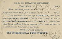Postcard receipt from the International News Company