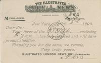 Postcard receipt for Angus McKay from The Illustrated London News