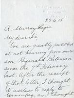 Soldiers' Letters to W. C. Murray : Reginald Bateman's Father, Apr. 23, 1915