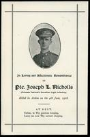 Soldiers' Letters to W. C. Murray : Joseph L. Nicholls Obituary