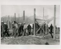Prisoners being let out of compound at Castle Mountain internment camp