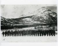 Soldiers on inspection at Castle Mountain internment camp