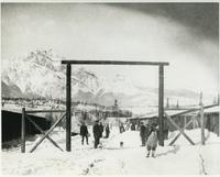 Internees at camp in Jasper in winter