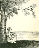 [Drawing of girl sitting under tree looking at bird]
