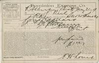 Receipt for N. Neil from the Dominion Express Co.