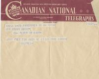 Telegram to Mrs Angus McKay from Wilfred