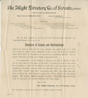 Advertisement for The Might Directory Co. of Toronto, Limited