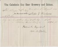Invoice for Angus McKay from The Caledonia Hop Beer Brewery and Saloon
