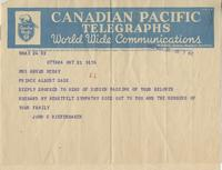 Telegram to Mrs Angus McKay from John G. Diefenbaker