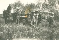 [Four women and a man with a wagon and team of horses]