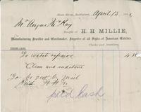 Invoice for Angus McKay from H.H. Millie