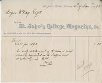 Invoice for Angus McKay from St. John's College
