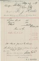 Invoice from R.J. Hunter, Merchant Tailoring and Gentleman's Furnishing Goods