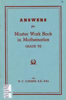 The Master work book in mathematics: grade VII. Answers