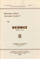 1961 Elementary school curriculum guide IV for science (grades I-VIII)