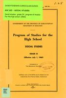1960 Program of studies for the high school. Social studies, grade IX