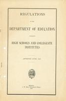 1913 Regulations of the Department of Education governing high schools and collegiate institutes