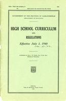 1940 High School Curriculum and Regulations
