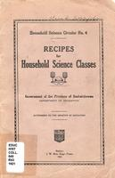 1921 Recipes for Household Science Classes