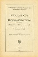 1922 Regulations and recommendations governing programme and courses of study for secondary schools