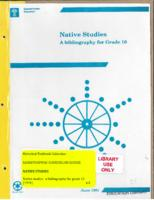 1991 Native Studies A Bibliography for Grade 10