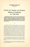 1939 Circular for teachers and students relative to textbooks for 1939-1940