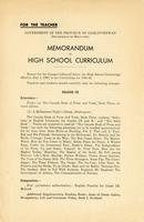 1941 Memorandum re high school curriculum