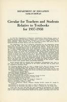 1937 Circular for teachers and students relative to textbooks for 1937-1938