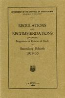1929 Regulations and recommendations governing programme of courses of study for secondary schools