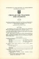 1931 Circular for teachers and students
