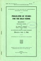 1946 Programme of studies for the high school. Bulletin 1