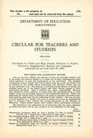 1935 Circular for teachers and students