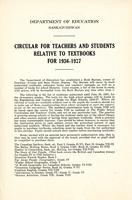 1936 Circular for teachers and students relative to textbooks
