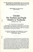 1942 Circular for teachers and pupils relative to textbooks