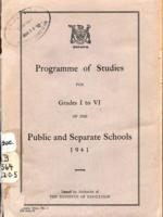 1941 Programme of studies for grades I to VI of the public and separate schools