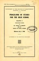 1948 Programme of study for the high school. Bulletin 3.