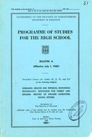 1950 Programme of studies for the high school. Bulletin A