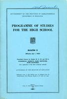 1952 Programme of studies for the high school. Bulletin D