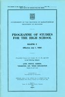 1950 Programme of studies for the high school. Bulletin C