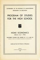 1956 Program of studies for the high school. Home economics