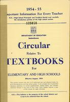 1954 Circular relative to textbooks for elementary and high schools