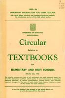 1955 Circular relative to textbooks for elementary and high schools