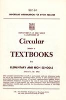 1962 Circular relative to textbooks for elementary and high schools