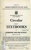1966 Circular relative to textbooks for elementary and high schools