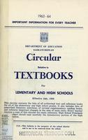 1963 Circular relative to textbooks for elementary and high schools
