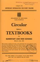 1969 Circular relative to textbooks for elementary and high schools